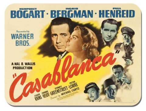Casablanca Movie Mouse Mat. Film Poster High Quality Mouse Pad. Humphrey Bogart